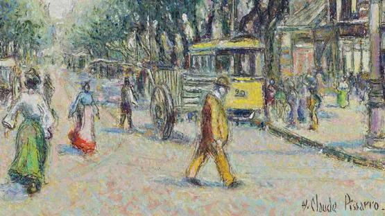 Hugues Claude Pissarro -Tramway jaune cours Belsunce (Detail), 1935 - Photo Credits artprecium.com