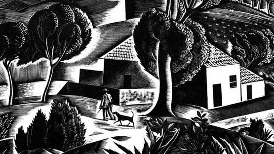 Iain Macnab - Corsican Landscape(detail),  wood engraving