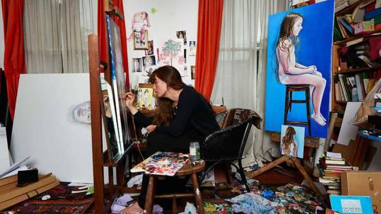 Ishbel Myerscough - Artist in her studio (detail), photo via independentcouk