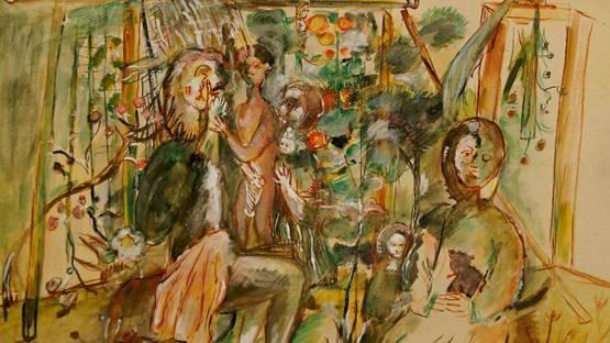 Jacob Bornfriend - Figures in a Garden (Detail) - image via auctionsroseberyscouk