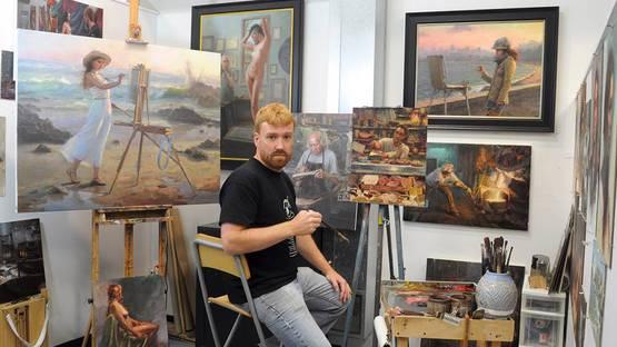 Jacob Dhein in his studio