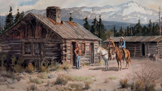 James Erwin Boren - Line Camp in the High Country (detail), 1981 - image via scottsdaleartauctioncom