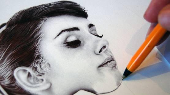 James Mylne drawing Audrey Hepburn