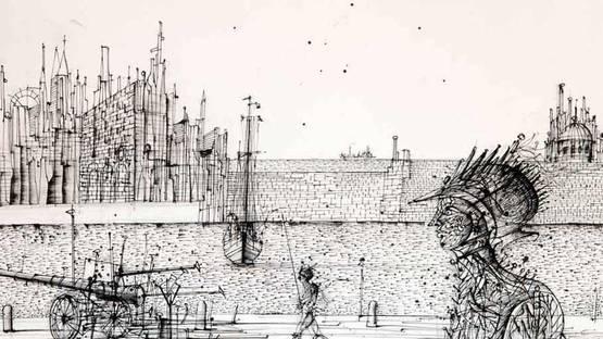 Jean Carzou - Le gardien (detail), 1982