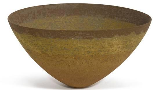 Jennifer Lee - Ochre, Amber and Umber Banded Bowl, 1992, image via sothebyscom