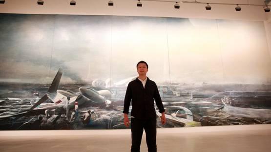 Jia Aili in front of his artwork - Photo copyright of CAC Malaga y Lorenzo Carnero