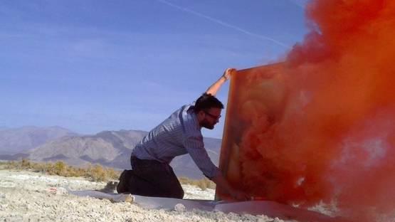 John Knuth - Emergency smoke flare on canvas, 2011