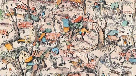 José Gurvich - Kibbutz, 1974 (detail)