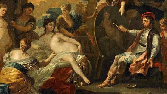 Joseph Goupy (attr) - Apelles malt Diana (detail), photo via wikimedia