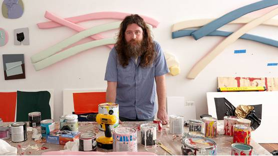 Justin Adian - in his Brooklyn studio, photo by Vincent Gapaillard, credits W Magazine