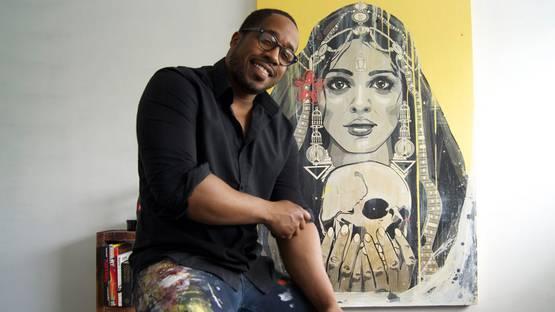 Kestin Cornwall in his studio, 2015