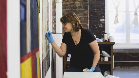 Krista Svalbonas working on a piece - image via midwestartstudioscom, courtesy of the artist