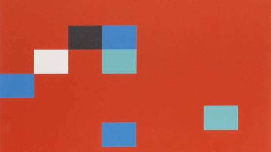 Kyohei Inukai - Seven Units on Red, 1978 (detail)