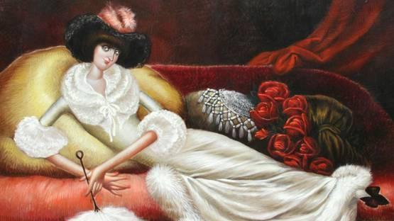 Leandro Velasco - Reclining Woman in Fur Housecoat, ca 1980 (detail)