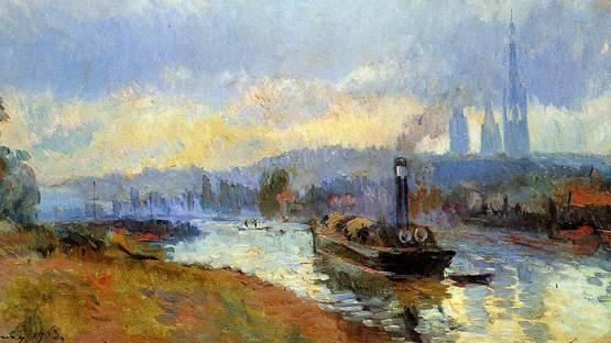 Lebourg Albert - Tow Boats in Rouen Sun (detail), photo via Wikimedia
