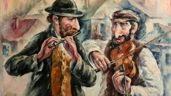 Leonid Afremov - Two Street Musicians, 2001 (detail)
