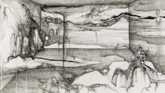 Lin Guocheng - The Landscape that Is Impossibly Accommodated no.1 – Xi Ling in My Window (detail), photo via sothebys