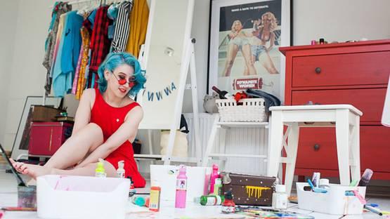 Lora Zombie in her studio