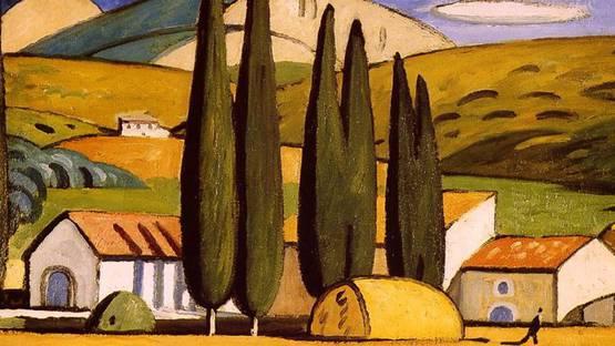 Louis-Mathieu Verdilhan - Paysage, maison et cyprès (Detail) - image via wikimediaorg