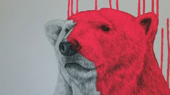 Louise McNaught - Hey There, Polar Bear (Neon Pink), 2016 (detail)