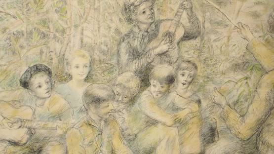 Lucien-Philippe Moretti - Jopy Singing with Friends (detail)