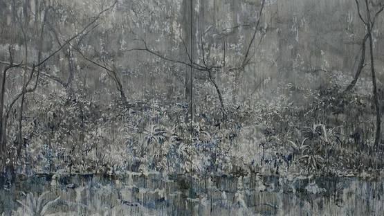 Luo Quanmu - Landscape (detail), oil on canvas, 250x400cm, photo via en cafa com cn
