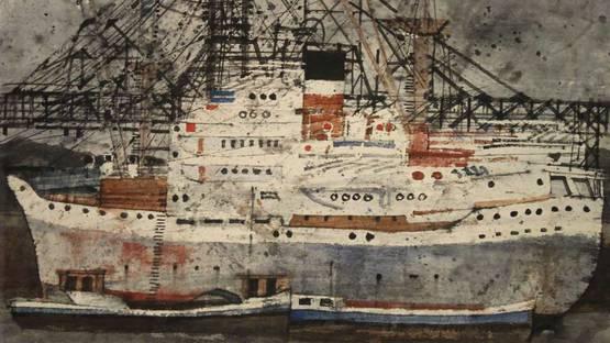 Maarten Kemper - Zeeschip vaart haven binnen, image via scheen