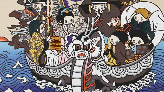 Maki Hosokawa - Seven lucky gods on dragon boat, detail - image courtesy of Sothebys