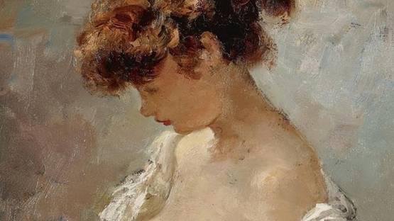 Marcel Dyf - Peasant Girl (detail), photo via mutualart com