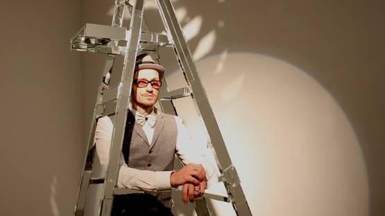 Mattia-Biagi-artist-with-his-Ladder-sculpture-photo-by-Deukyun-Hwang