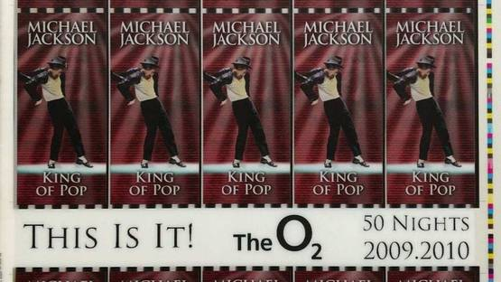 Michael Jackson - This Is It! Uncut 2009 Lenticular Concert Ticket Sheet Form 7,7A Michael Jackson, 2009 (detail)