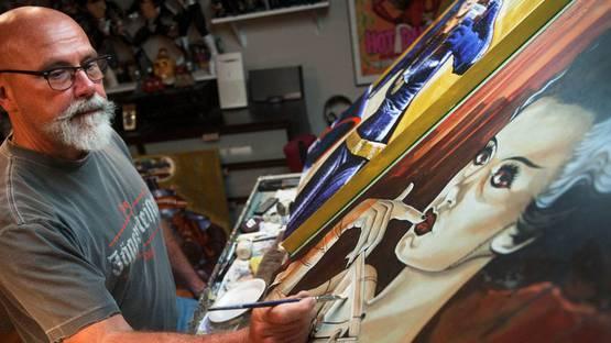 Mike Bell artist in his studio