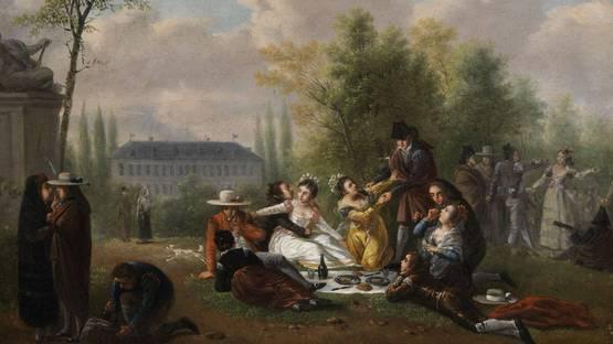 Nicolas-Louis-Albert Delerive - Picknick im Schlosspark (detail), photo via wikimedia