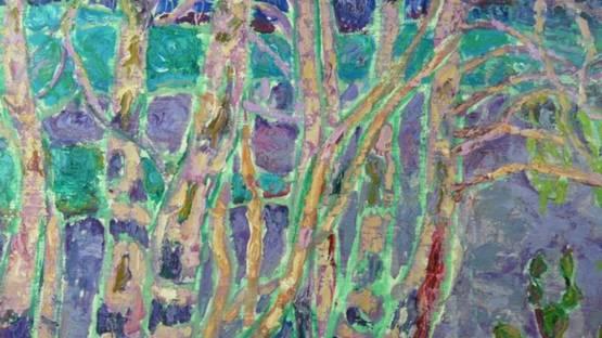 Nina Lugovskaya - Purple Birch Trees, 1960s (detail)
