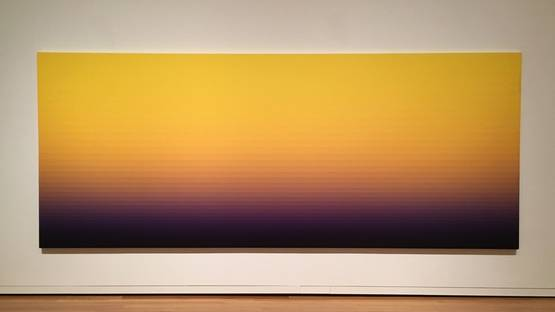 Norman Zammitt - Yellow Burning, 1974-1981, Acrylic on Canvas, installation view, photo via beatsandpieces