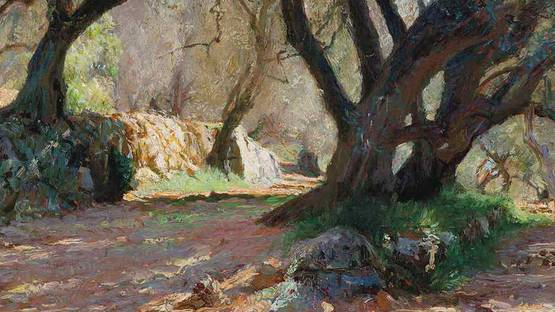 Octave Denis Victor Guillonnet - Dappled sunlight in the garden - image via Christies