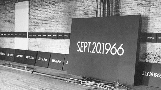 On Kawara's studio, New York City, 1966 - Image via exhibitionsguggenheimorg