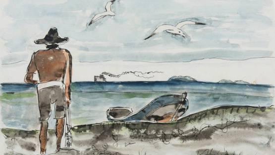 Oswaldo Goeldi - Untitled (Pescador e o Mar) - detail