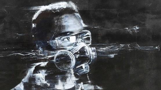 Patrick Hugues - Gas Mask Man (detail), photo courtesy of Galerie David Pluskwa