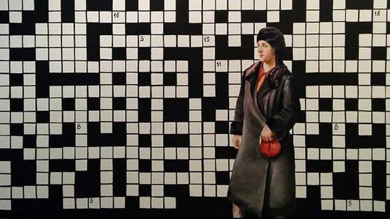 Paulina Olowska - Crossword puzzle with lady in black coat, 2014