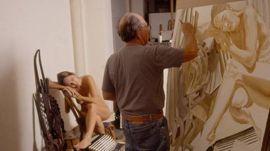 Philip Pearlstein - in studio, photo by Jerry Thompson, photo credits of the artist
