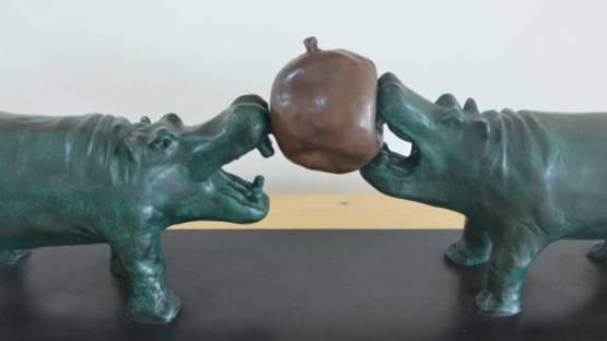 Philippe Berry - Deux Hippos et un Ballon - Image courtesy of Bel Air Fine Art