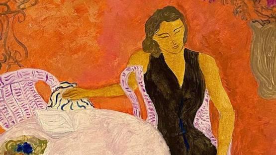 Pierre Boncompain - Robe noire sur la terrasse rose (detail)