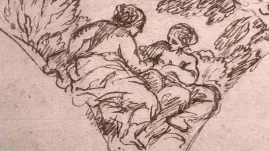 Pietro da Cortona - Study of figures, ca 1650 (detail)