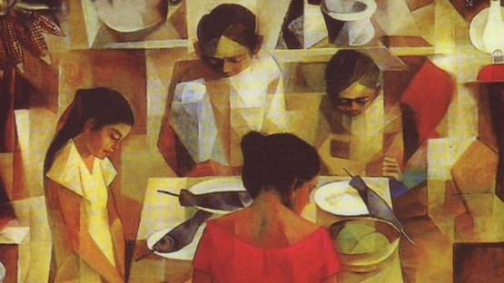 Prayer before Meal by Vicente Manansala (detail)