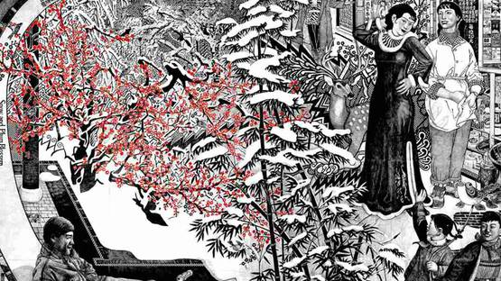 Qiu Jie - Snow and Plum Blossom (Detail), 2007, photo credits 3dotswater