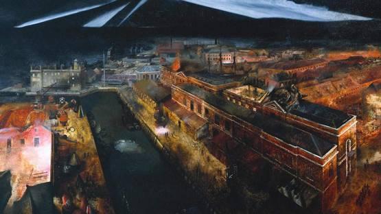 Richard Eurich - detail from the Night Raid on Portsmouth Docks, 1941, photo credits Tate Modern