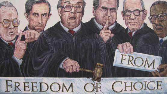 Robbie Conal - Freedom of Choise - Supreme Courte Justices (detail), photo credits - The Obama Art Report
