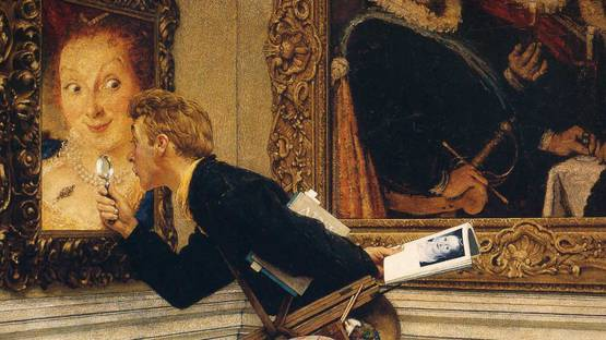 Rockwell Norman - Art Critic (detail), 1955, photo via Wikiart