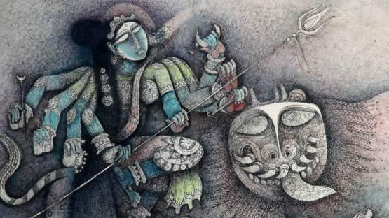 S.P. Jayakar - Kali, Image courtesy of the Addicted Art Gallery
